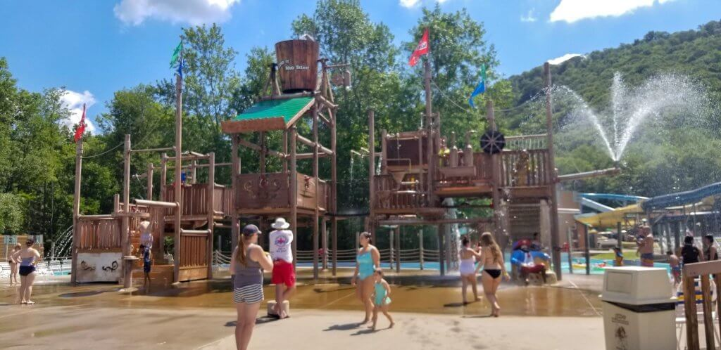 a pirate themes spray ground and splash pad or spray ground at land of make believe