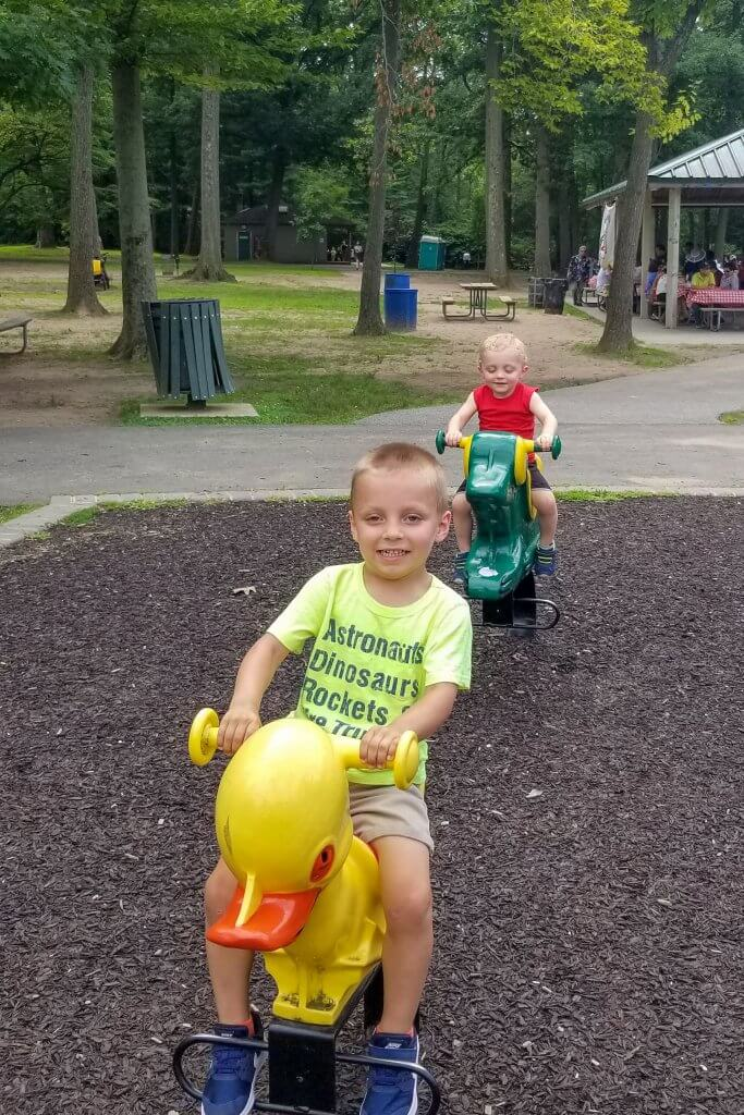 two boys riding rocking ducks and frogs in van saun park