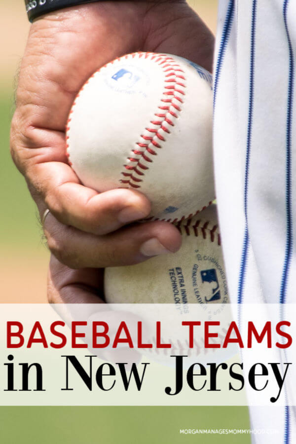 a man's hand holding 2 baseballs   with text overlay reading baseball teams in NJ